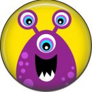 Not so Scary Purple Monster on Yellow Background, 1 Inch Pinback Button - 0010