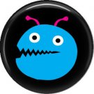 Not so Scary Blue Monster on Black Background, 1 Inch Pinback Button - 0009