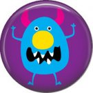 Not so Scary Blue Monster on Purple Background, 1 Inch Pinback Button - 0001