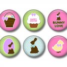 Easter Spring Time Bunny Love, 12 1 Inch Pinback Buttons - Set 1