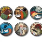 Talking Birds Set of 12 1 Inch Pinback Button Badge Pins - Set 2
