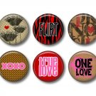 Wild Love Valentine's Day 12 1 Inch Pinback Button Badge Pins - Set 2