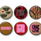 Wild Love Valentine's Day 12 1 Inch Pinback Button Badge Pins - Set 2