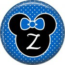 Mouse Ears with Blue Bow Letter Z, 1 Inch Alphabet Initial Button Badge Pinback
