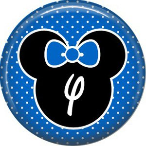 Mouse Ears with Blue Bow Letter Y, 1 Inch Alphabet Initial Button Badge Pinback