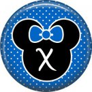 Mouse Ears with Blue Bow Letter X, 1 Inch Alphabet Initial Button Badge Pinback