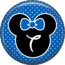 Mouse Ears with Blue Bow Letter T, 1 Inch Alphabet Initial Button Badge Pinback