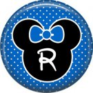 Mouse Ears with Blue Bow Letter R, 1 Inch Alphabet Initial Button Badge Pinback