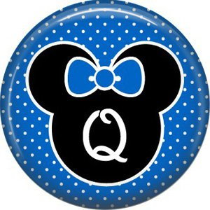 Mouse Ears with Blue Bow Letter Q, 1 Inch Alphabet Initial Button Badge Pinback