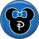 Mouse Ears with Blue Bow Letter P, 1 Inch Alphabet Initial Button Badge Pinback