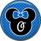 Mouse Ears with Blue Bow Letter O, 1 Inch Alphabet Initial Button Badge Pinback