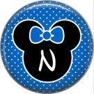 Mouse Ears with Blue Bow Letter N, 1 Inch Alphabet Initial Button Badge Pinback