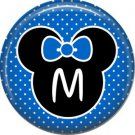Mouse Ears with Blue Bow Letter M, 1 Inch Alphabet Initial Button Badge Pinback