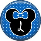 Mouse Ears with Blue Bow Letter L, 1 Inch Alphabet Initial Button Badge Pinback