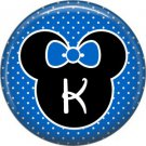 Mouse Ears with Blue Bow Letter K, 1 Inch Alphabet Initial Button Badge Pinback