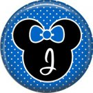 Mouse Ears with Blue Bow Letter J, 1 Inch Alphabet Initial Button Badge Pinback