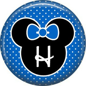 Mouse Ears with Blue Bow Letter H, 1 Inch Alphabet Initial Button Badge Pinback