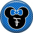 Mouse Ears with Blue Bow Letter F, 1 Inch Alphabet Initial Button Badge Pinback