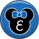 Mouse Ears with Blue Bow Letter E, 1 Inch Alphabet Initial Button Badge Pinback