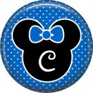 Mouse Ears with Blue Bow Letter C, 1 Inch Alphabet Initial Button Badge Pinback
