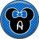 Mouse Ears with Blue Bow Letter A, 1 Inch Alphabet Initial Button Badge Pinback