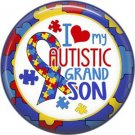 I Love my Autistic Grandson Puzzle Border, Autism Awareness 1 Inch Pinback Button Badge - 6025