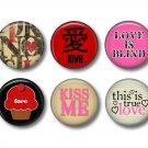Wild Love Valentine's Day Set of 12 1 Inch Scrapbook Flair Medallions - Set 4