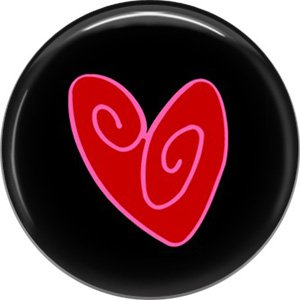 Wild Love Red Abstract Heart Valentine's Day 1 Inch Pinback Button Badge Pin - 2159
