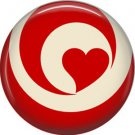 Wild Love Red Swirl Heart Valentine's Day 1 Inch Pinback Button Badge Pin - 2162