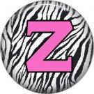 Pink Z on Zebra Print Background, 1 Inch Alphabet Initial Button Badge Pinback