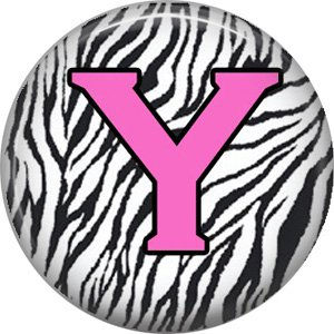 Pink Y on Zebra Print Background, 1 Inch Alphabet Initial Button Badge Pinback
