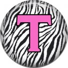 Pink T on Zebra Print Background, 1 Inch Alphabet Initial Button Badge Pinback