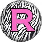 Pink R on Zebra Print Background, 1 Inch Alphabet Initial Button Badge Pinback