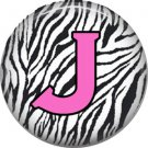 Pink J on Zebra Print Background, 1 Inch Alphabet Initial Button Badge Pinback