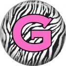 Pink G on Zebra Print Background, 1 Inch Alphabet Initial Button Badge Pinback