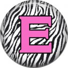 Pink E on Zebra Print Background, 1 Inch Alphabet Initial Button Badge Pinback