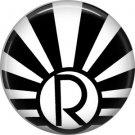 Art Deco Sunburst Alphabet Letter R, 1 Inch Button Badge Pin