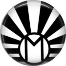 Art Deco Sunburst Alphabet Letter M, 1 Inch Button Badge Pin