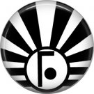 Art Deco Sunburst Alphabet Letter F, 1 Inch Button Badge Pin