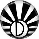Art Deco Sunburst Alphabet Letter D, 1 Inch Button Badge Pin