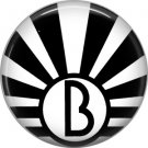 Art Deco Sunburst Alphabet Letter B, 1 Inch Button Badge Pin