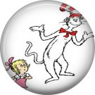 Sally with The Cat in the Hat, Dr. Seuss 1 Inch Pinback Button Badge - 6047