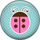 Pink Ladybug on Blue Polka Dot Background 1 Inch Button Badge Pin Pinback Button - 2057