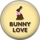 Bunny Love on Yellow Background Easter 1 Inch Button Badge Pin Pinback Button - 2059