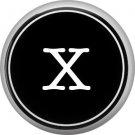 1 Inch Alphabet Letter X Button Badge Pin Resembling Vintage Typewriter Keys