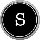 1 Inch Alphabet Letter S Button Badge Pin Resembling Vintage Typewriter Keys