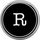 1 Inch Alphabet Letter R Button Badge Pin Resembling Vintage Typewriter Keys