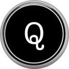 1 Inch Alphabet Letter Q Button Badge Pin Resembling Vintage Typewriter Keys