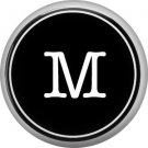 1 Inch Alphabet Letter M Button Badge Pin Resembling Vintage Typewriter Keys