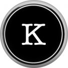 1 Inch Alphabet Letter K Button Badge Pin Resembling Vintage Typewriter Keys